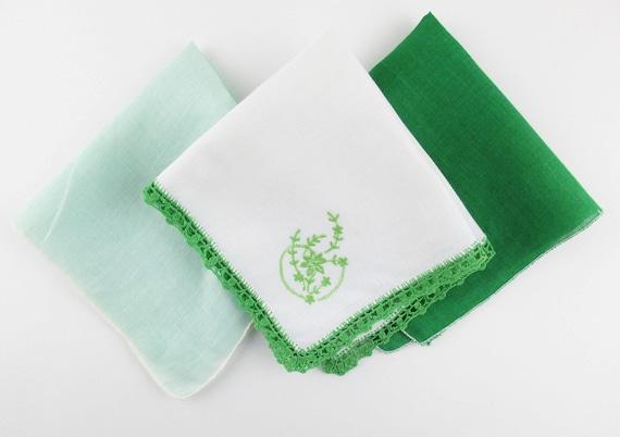 3 St. Patrick's Day Hankies - Crochet, Embroidery