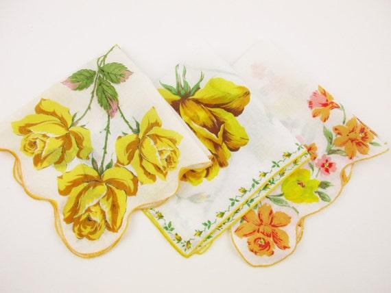 3 golden yellow flower hankies bouquets singles white etsy image 0 mightylinksfo