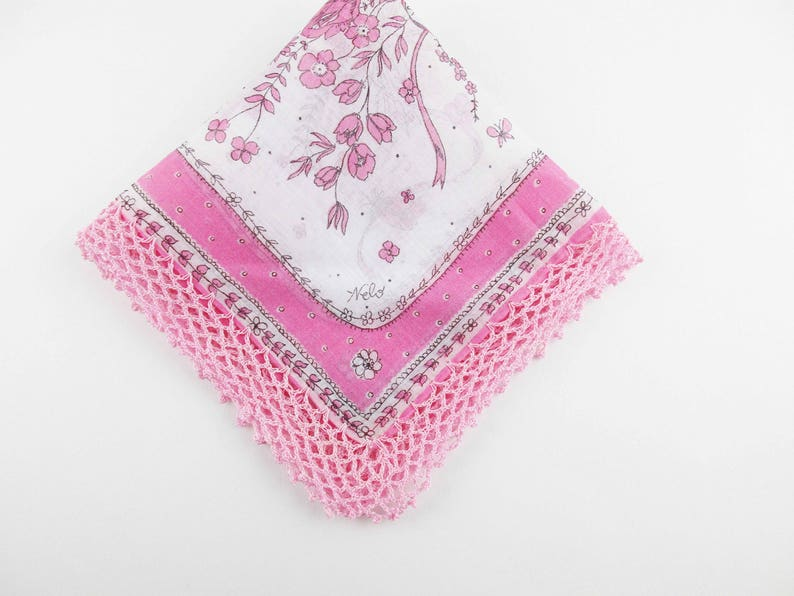 A 'Nelo' Swiss Designer Hankie - Pink and Black on White With Crocheted Hem  Added - Nelo Handkerchief - 1950s Textile Design