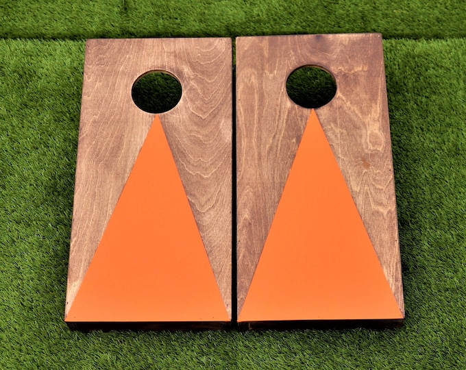 Mini/Kids Cornhole Boards with a light stain and orange triangle with bags included