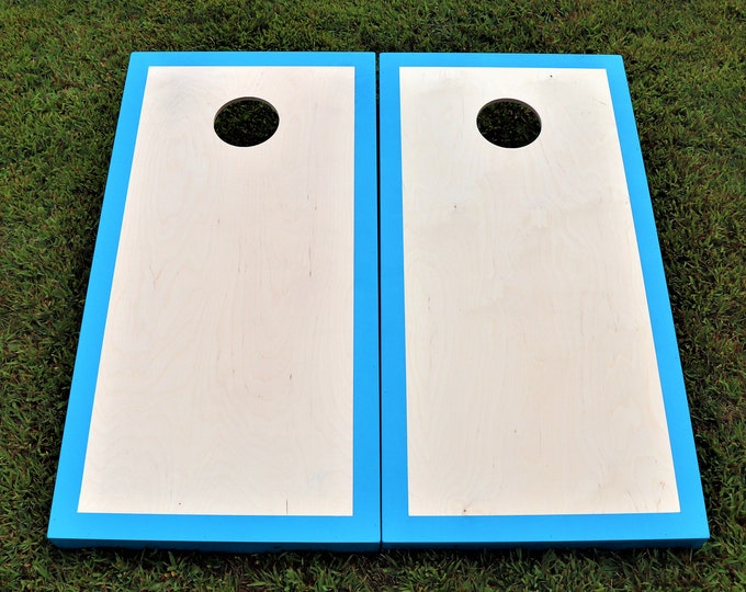 Natural Cornhole Boards with a Carolina Blue border w\bags included
