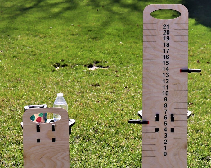 Cornhole Scoreboard with Beverage Holders-Set of 2|Score Keeper|Lawn Games|Free Standing|Beverage Tower|Drink Holder|Wooden Cup Holder|Bocce
