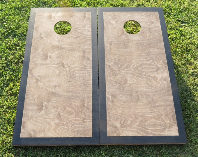 Cornhole Boards with a Light Stain and Painted Border with 8 bags