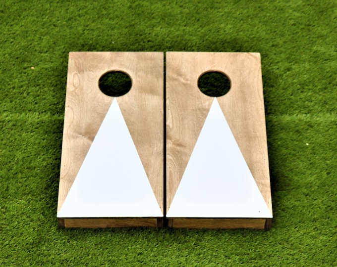 Mini/Kids Cornhole Boards with a light stain and a white triangle w/bags included