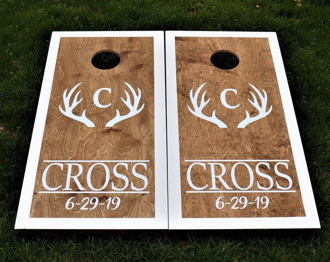 Wedding Cornhole Boards with 8 bags