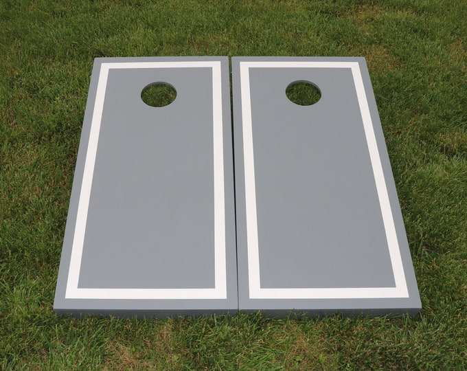 Gray Cornhole Boards with White Border with 8 bags included
