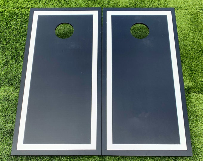 Black Cornhole Boards with White Border with bags
