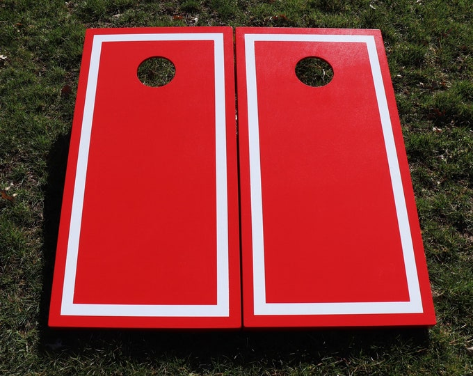 Red Cornhole Boards with White Border w\bags