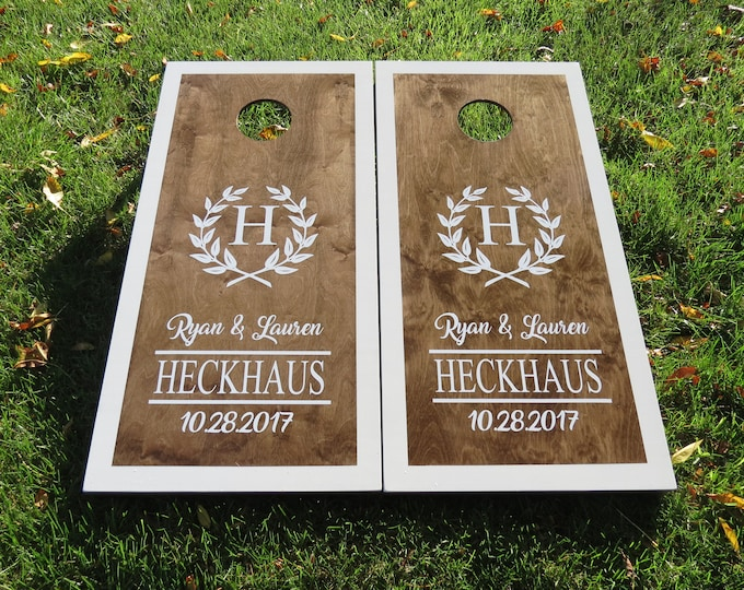 Customized Wedding Cornhole Boards with 8 Bags