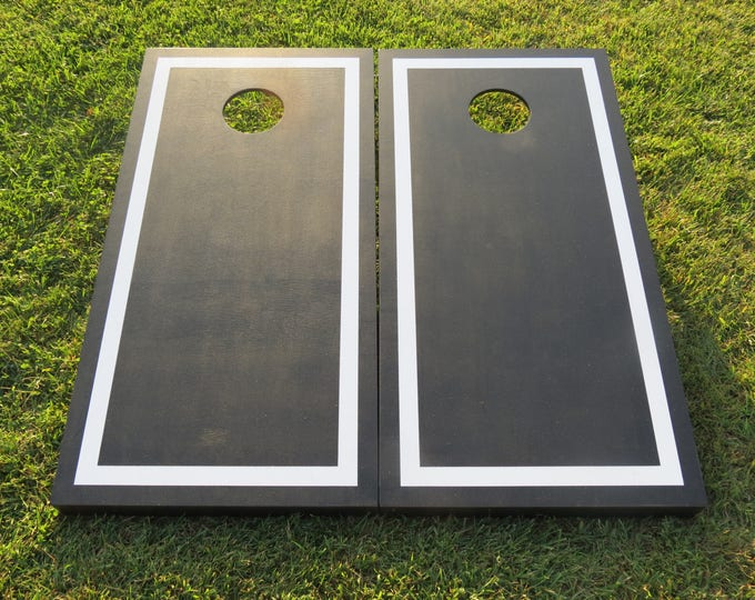 Black Cornhole Boards with White Border with 8 bags included