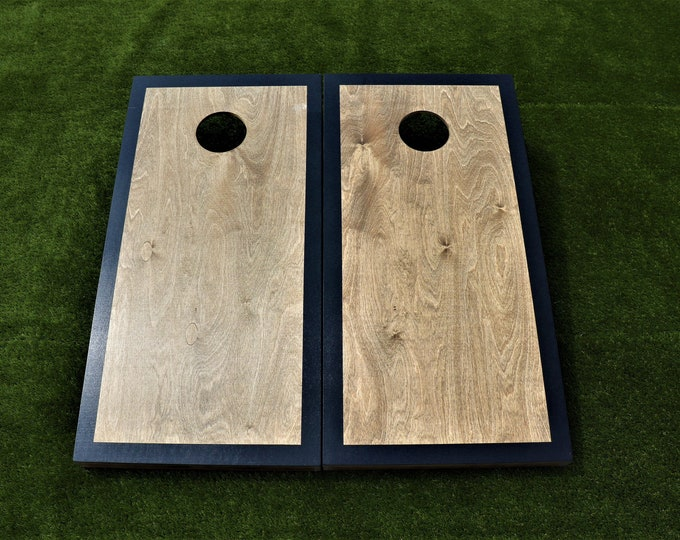 Cornhole Boards with a light stain and Black border w\bags included