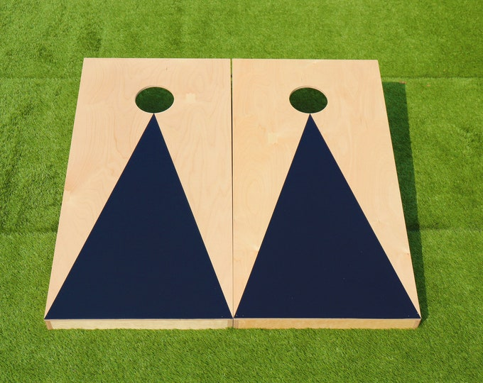 Natural Cornhole Boards with a Black triangle w\bags included