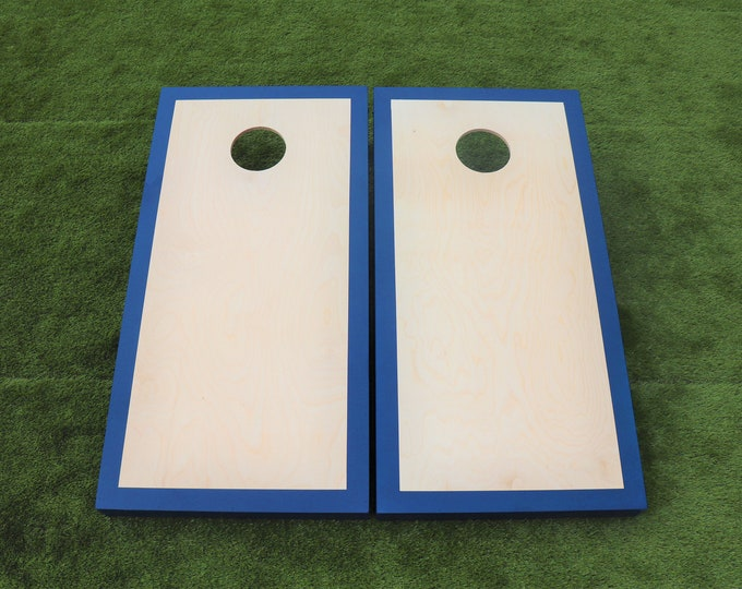 Natural Cornhole Boards with a Navy Blue border w\bags included