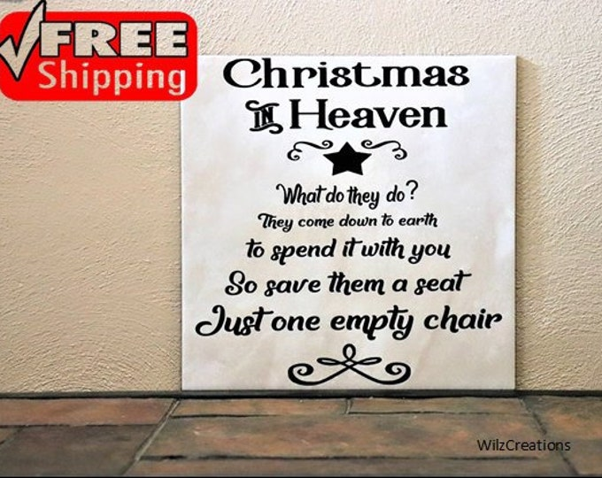 Christmas Tile|Ceramic Tile|Christmas in Heaven Tile|Christmas Gift|Loss of Family Member|Loss of Friend Gift|Christmas Gift for Grieving