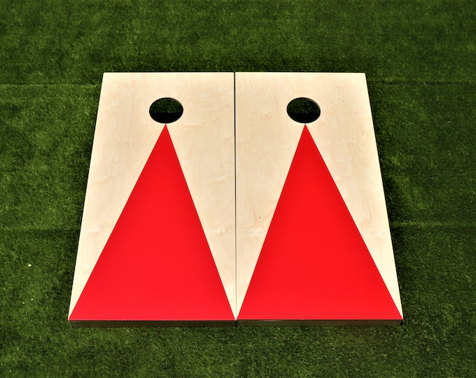 Natural Cornhole Boards with a Red triangle w\bags included