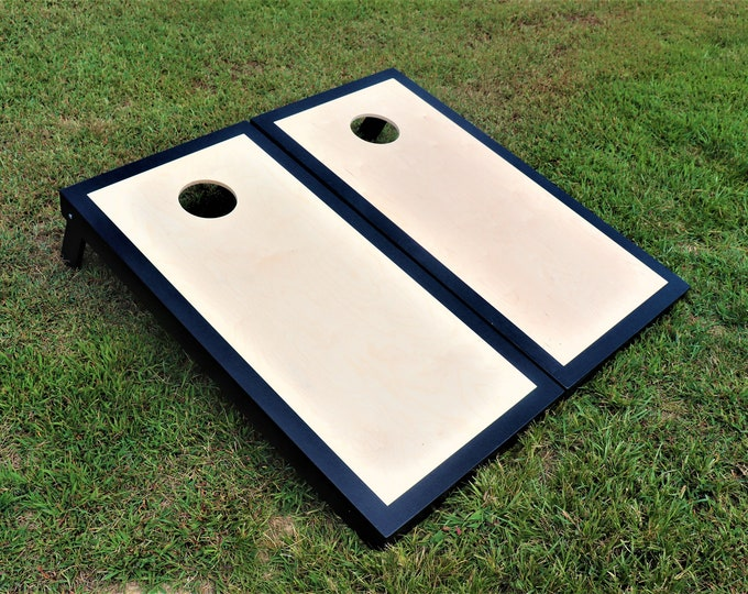 Natural Cornhole Boards with a Black border w\bags included|Fathers Day|Wedding Gift|Bag Toss|Corn Toss|Baggo|Lawn Games|Christmas