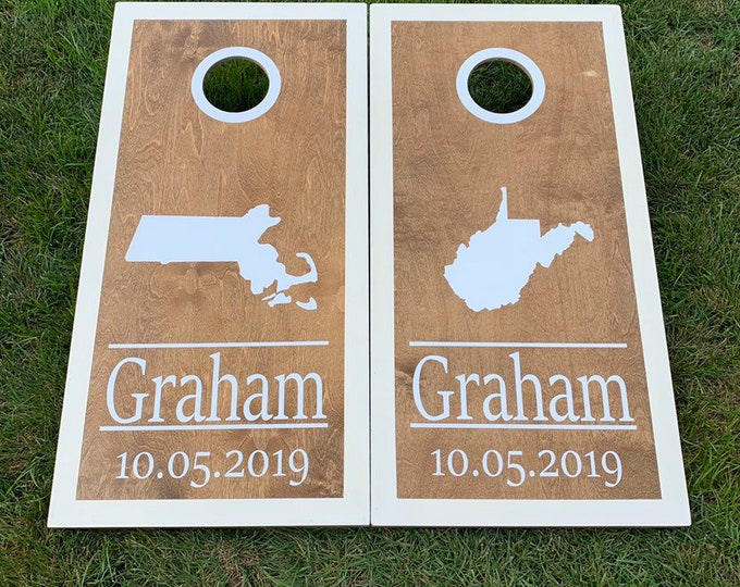State Wedding Cornhole Boards with 8 bags