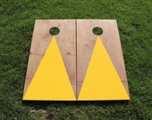 Cornhole Boards with a light stain and Yellow triangle w\bags included|Fathers Day|Wedding Gift|Bag Toss|Corn Toss|Baggo|Lawn Game|Christmas