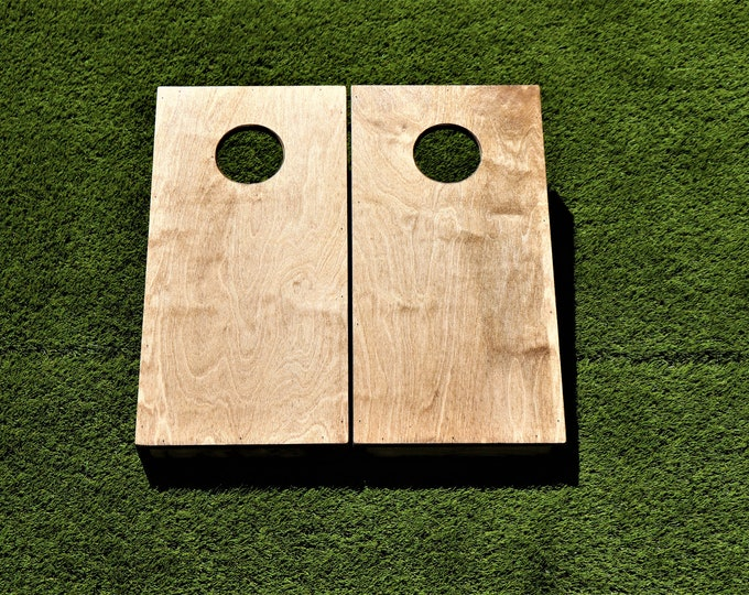 Mini/Kids Cornhole Boards with a light stain and bags