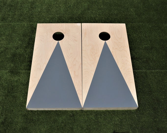 Natural Cornhole Boards with a Grey triangle w\bags included