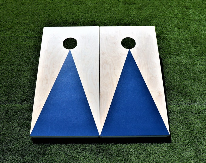 Natural Cornhole Boards with a Navy Blue triangle w\bags included