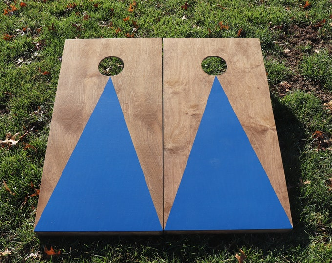 Cornhole Boards with a light stain and Blue triangle w\bags included