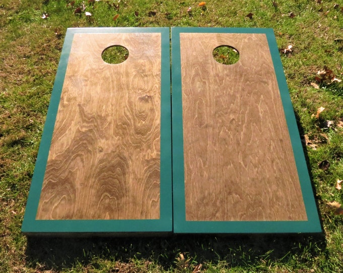 Cornhole Boards with a light stain and Hunter Green border w\bags included
