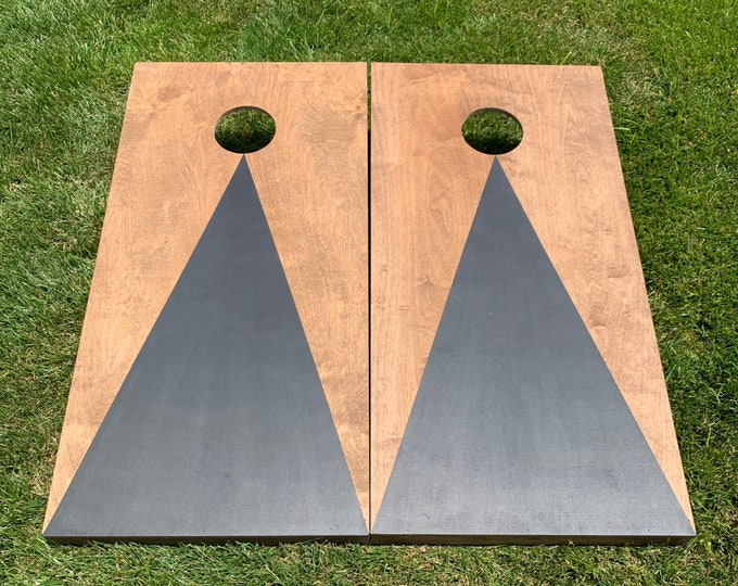 Cornhole Boards with a light stain and Black triangle w\bags included