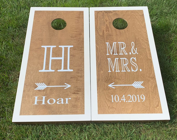 MR&MRS Wedding Cornhole Boards with 8 bags