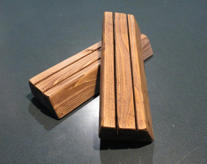 Set of 2 wooden playing card holders