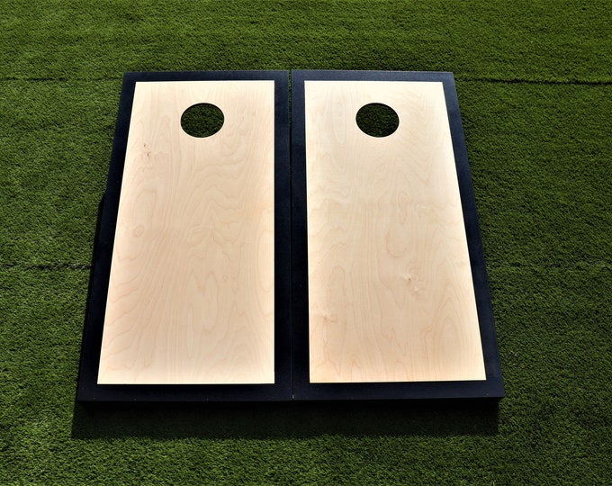 Natural Cornhole Boards with a Black border w\bags included
