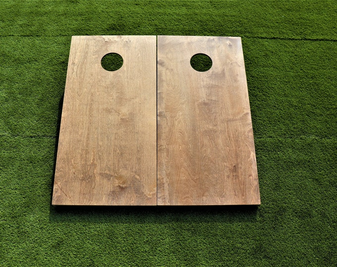 Cornhole Boards with a light stain with bags included