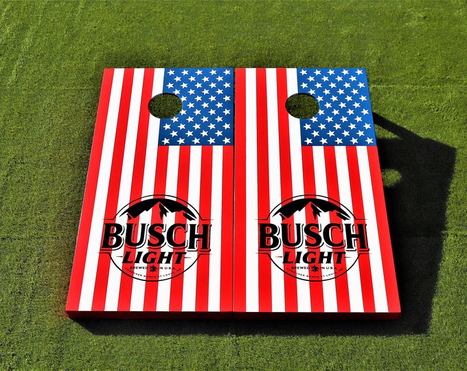 American Flag Busch Light Regulation Cornhole Boards with bags