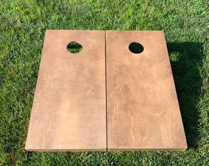 Light Stained Cornhole Boards with 8 bags included