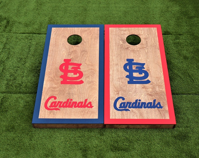 St. Louis Cardinals Regulation Size Cornhole Boards with 8 bags.