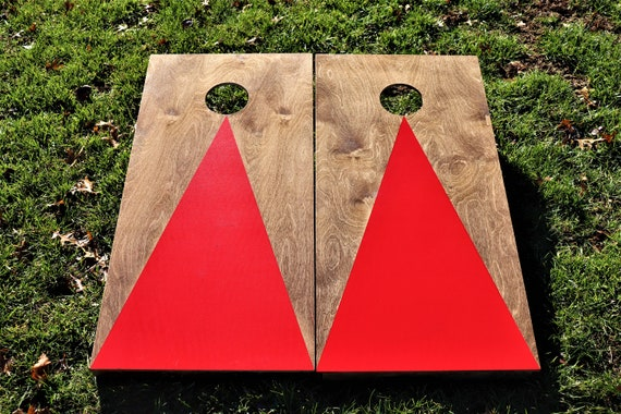 Cornhole Boards with a light stain and Yellow triangle w\\bags included Fathers Day Wedding Gift Bag Toss Corn Toss Baggo Lawn Game Christmas