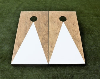 Cornhole Boards with a light stain and White triangle w\bags included|Fathers Day|Wedding Gift|Bag Toss|Corn Toss|Baggo|Lawn Game|Christmas