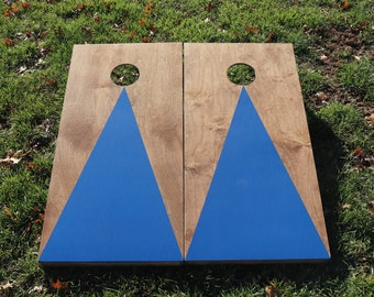 Cornhole Boards with a light stain and Blue triangle w\bags included|Fathers Day|Wedding Gift|Bag Toss|Corn Toss|Baggo|Lawn Game|Christmas