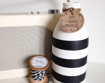 Personalised hand painted milk bottle
