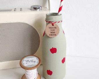 Personalised hand painted teachers mini milk bottle