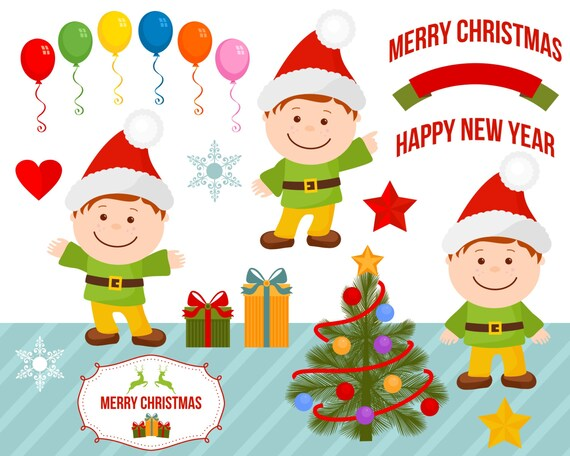 Boy Gnome Christmas Party Clipart Clip Art Balloons Gifts Vector Illustrations Heart Stars Emblem Badge Ribbon Commercial Use
