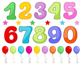 Numbers, Balloons, Stars, Vector Illustrations, Cartoon, Birthday, Elements
