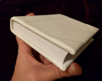 White deerskin leather bound blank book with white pages - Wedding book, sketch book, journal
