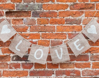 LOVE With Hearts Bunting - Vintage Handmade Wedding Decoration Burlap / Hessian Bunting Shabby Chic Rustic Banner