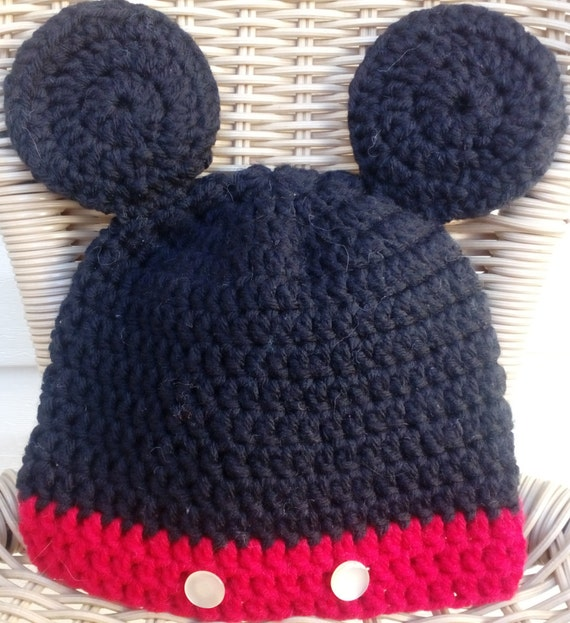Crochet Mickey Mouse Hat Mickey Mouse Hat 1 Birthday Hat Etsy