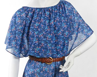 Vintage S Midi Dress GRECIAN Drape Floral FESTIVAL  Semi-sheer