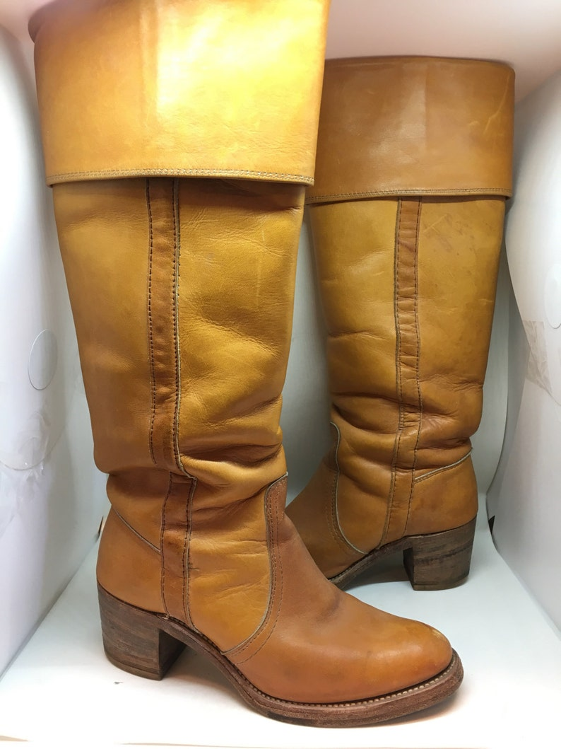 Vtg FRYE Women/'s Boots 6.5M Brown Leather PULL TABS