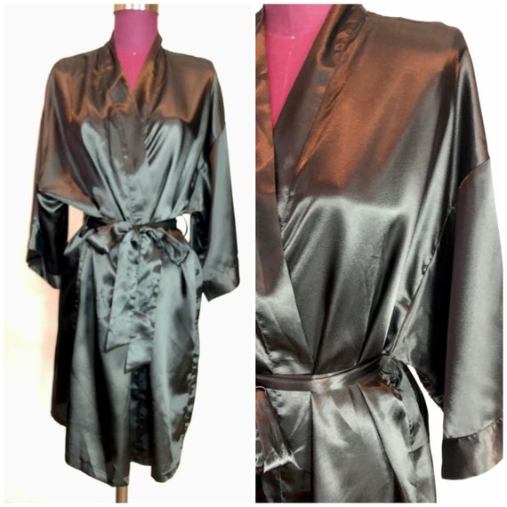 Kimono wrap style black cotton jersey vintage dress