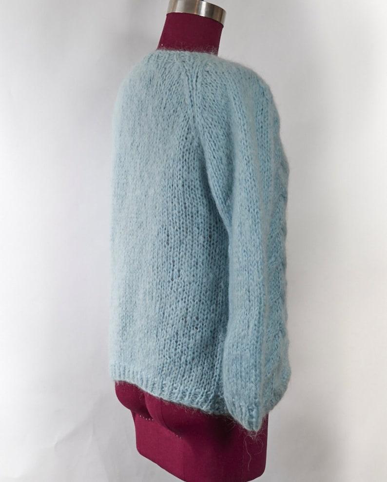 Vintage AQUA Cardigan XS S Preppy 50s Sweater Top DAINTY Stretch Knit