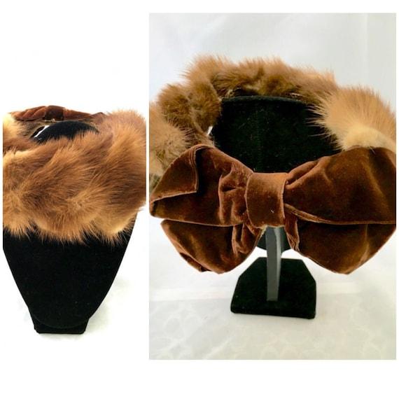 Vtg Fascinator Mini Casque Bumper Calot Hat Fur PR